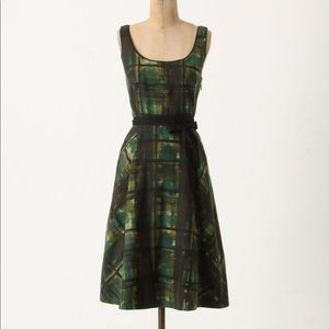 Anthropologie Maeve Painted Plaid Dress